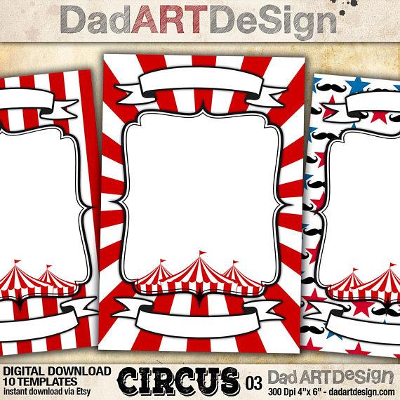 10 Circus Card Templates
